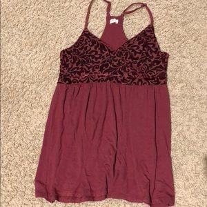 Red flowy tank/ blouse with velvet design